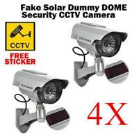 4x Solar Power Fake Camera CCTV Waterproof Realistic Dummy Security Blinking