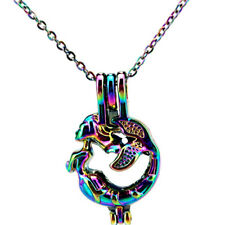C666 RAINBOW COLORFUL Mermaid Beads Cage Locket Charm Necklace 18""