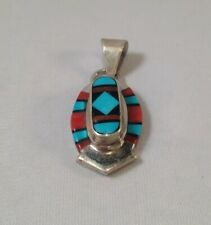 Native American Zuni Turquoise And Coral Inlay Sterling Silver Pendant