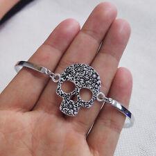 gothic hand made fine silver sugar skull Cuff Bangle Bracelet Jewelry Hallowmas