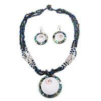 """Abalone Shell Shiva Eye Seed Bead Strand Pendant Necklace Drop Earrings Set 18"""""""