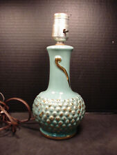 Lamp Vintage 1950-60's Pottery Turquoise & Gold Works great extra long cord