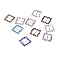 10x Mixed Color Square Rhinestone Ribbon Buckles Sliders Embellishments 10mm