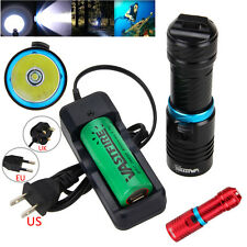 Underwater 100m Adjust Brightness 10000LM T6 LED Diving Flashlight Torch Light