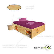 Lit double multi-fonction adulte 2 places 140 x 200 multi-rangement naturel p...
