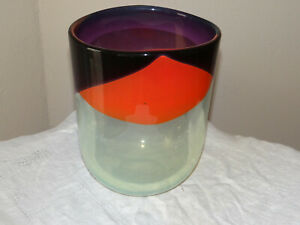 LARGE ITALIAN ART GLASS VASE SIGNED R. PELE (RICARDAS PELECKAS) OVAL SHAPED