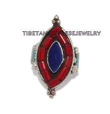 Adjustable Turquoise Lapis Ring Coral ring Gypsy ring Tibetan ring Tibet Ring 28