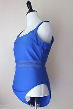 Speedo Swimming Suit One Piece Women 10 M Swim Wear Blue High Cut Sheer Stripe