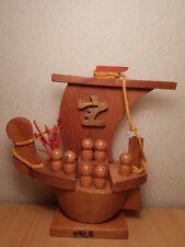 Vintage Japan folk art Sailing ship with 7 mini kokeshi doll (15cm)