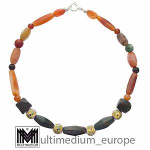 Emaille Stein Halskette Karneol Jaspis Achat Art Deco Stil necklace 🌺🌺🌺🌺🌺