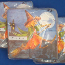 40 Luncheon paper Napkins VIVA Halloween Witch on Broomstick