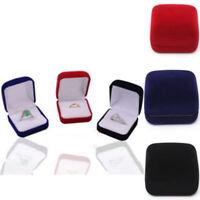 HB- BL_ Square Velvet Jewelry Earring Ring Display Storage Organizer Gift Box Ca