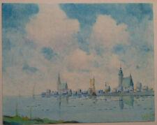 Aquarell Gemälde Wollin ? Stadtansicht Pommern Ostsee Hafenstadt Impressionismus