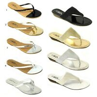 WOMENS LADIES FLAT WEDGE TOE POST SUMMER BEACH SANDALS FLIP FLOPS SIZE 3-8