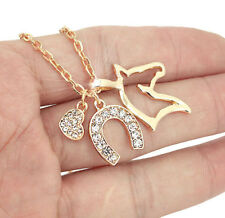 HORSE & WESTERN JEWELLERY JEWELRY LADIES SPARKLING HORSE CHARMS NECKLACE GOLD