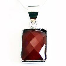 925 Sterling Silver Semi-Precious Stone Pendant - Red Onyx.