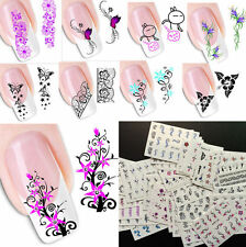 50x Nail Aufkleber Nagel Fingernägel Tattoo Aufkleber Fuß Schmetterlinge Blumen