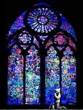 Banksy Blue Stained Glass Boy Street Art Grafitti 30 x 40 inch Canvas Print