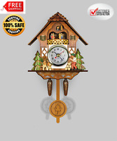Vintage Cuckoo Clock Forest Swing Wall Room Decor Wood Cartoon Clock