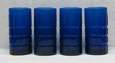 Set of 4 Cobalt Blue Anchor Hocking - Tartan Pattern - 6 Inch Tall Glasses