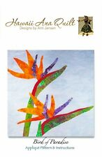 BIRD PARADISE Quilt Pattern Orange Tropical Flowers Needle Turn Hand Applique