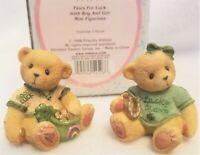 1998 Cherished Teddies Paws for Luck Irish Boy & Girl Mini Figurines ~ NEW