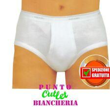 2 Slip Uomo Classici Mutande con Apertura Henri Made in Italy 100% Cotone Bianco