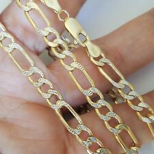 2 tone mans 14k yellow gold Figaro chain 24 inches long 5 mm