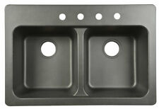 Kindred  Tectonite  Dual Mount  33 in. W x 22 in. L Kitchen Sink  Black