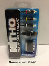 AV CABLE RCA + SCART ADAPTER SONY PS2 PS3 PLAYSTATION 2 - NEW SEALED