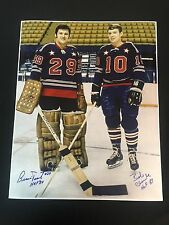 FLYERS BERNIE PARENT BOBBY CLARKE AUTOGRAPHED 8X10 ALL STAR PHOTO W/COA HOF INS