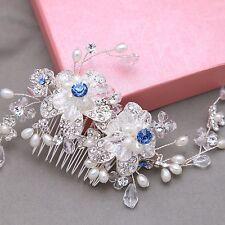 Diamante Flower Blue Crystal Bridal Wedding Hair Accessories Comb