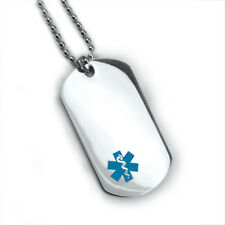 Medical Alert ID Dog Tag and Necklaces. Free Wallet Card! Free engraving!