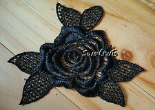 2pcs Embroidered Black Rose Flower & Leaves Lace Trim Applique Patch Motif