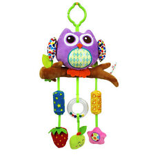 Baby infant purple owl activity rattle cot pram hanging bell developmental toy