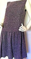 NWT ANNA SUI Purple Nubby Knit Sleeveless Drop Waist Dress W/Bow In Back SZ 8
