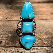 1920s Pawn Navajo Native Long Turquoise Silver Ingot Ring Old FRED Harvey Pawn