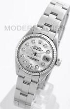 Rolex Ladies Datejust Steel White MOP Diamond 18K Gold Fluted Oyster 6917 Model