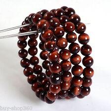 "wholesale 4 Pc 8mm Red tiger eye round gemstone beads stretchable bracelet 7.5"""