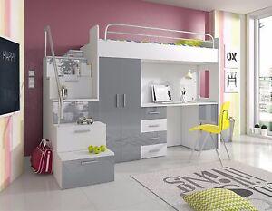 Hochglanz Hochbett PATI mit Schreibtisch, Schrank und Regal in der Treppe  weiß
