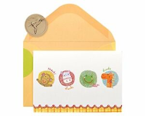 Papyrus Baby Shower Thank You Cards with Envelopes, Animals (14-Count)