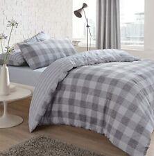 Gingham Check Grey  Blue Bedding - Reversible Duvet Cover and Pillowcase Set