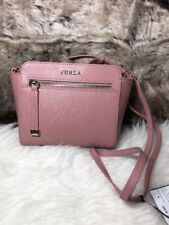 NWT Authentic FURLA Ladies Marika Crossbody Bag Purse Pink Anti Scratch Leather