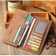 Men's Bifold Leather Breast Pocket Card Holder Purse Suit Long Wallet Checkbook
