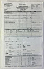 2009 NBC tv show LOST AND FOUND set used CALL SHEET+location map~Pilot Episode