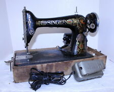 Antique 1910 Singer Sewing Machine in Case w/ Pedal ~ Ornate ~ Runs Needs Work