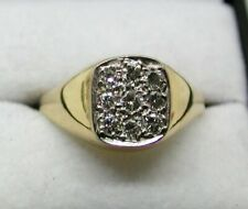 1970's Vintage Gents 18 carat Gold Diamond Signet Ring Size T