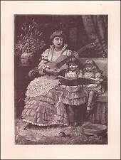 MOTHER PLAYS GUITAR, GIRLS SING, antique engraving, original 1881
