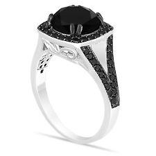 4.10 CARAT NATURAL ENHANCED BLACK DIAMOND ENGAGEMENT RING 14K WHITE GOLD