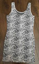 h&m bodycon dress 10 12 uk Black White Stretch Long Top Tunic medium ladies girl